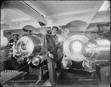 These were state of the art weapons of war in 1896, the largest guns ever put to sea. Each gun weighed 136,000 pounds, and shot projectiles that weighed 1,130 pounds. (Courtesy U.S. Navy)