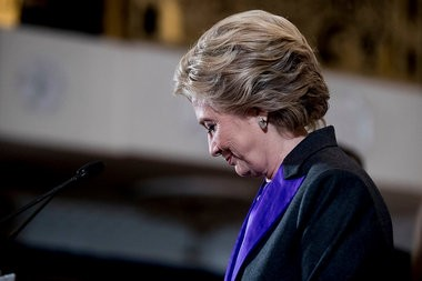 Democratic presidential candidate Hillary Clinton finishes speaking at the New Yorker Hotel in New York, Wednesday, Nov. 9, 2016, where she conceded her defeat to Republican Donald Trump after the hard-fought presidential election. (AP Photo/Andrew Harnik)