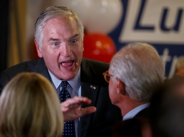 Sen. Luther Strange greets supporters as they wait for the election results at a party, Tuesday, Aug. 15, 2017, in Homewood, Ala. (AP Photo/Butch Dill)