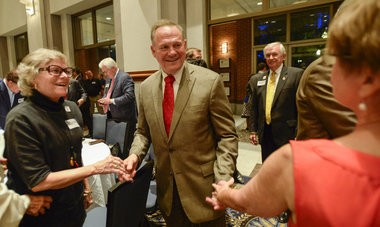 U.S. Senate candidate Roy Moore greets supporters at his runoff election watch party Tuesday, Sept. 26, 2017, in Montgomery, Ala. (Julie Bennett/jbennett@al.com)