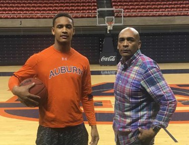 Auburn guard Bryce Brown and his father, Cedric, at Auburn Arena.