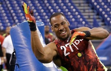Former Auburn defensive end Corey Lemonier, shown here at the NFL Combine, is likely to be the highest Tiger picked in the 2012 draft. (Associated Press)