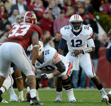 Auburn quarterback Jonathan Wallace (12) calls for the football during the Tigers' 49-0 loss to Alabama in the Iron Bowl on Saturday, Nov. 24, 2012, at Bryant-Deny Stadium in Tuscaloosa, Ala. (Julie Bennett/jbennett@al.com)