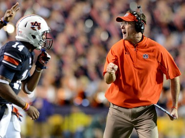 Auburn head coach Gus Malzahn calls a play during the third quarter Saturday, Sept. 21, 2013, at Tiger Stadium in Baton Rouge, La. (Julie Bennett/jbennett@al.com)