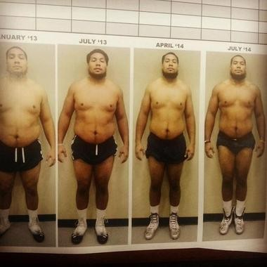 Auburn senior defensive lineman Gabe Wright shared his transformation on Twitter. (@NineORhino/Twitter)