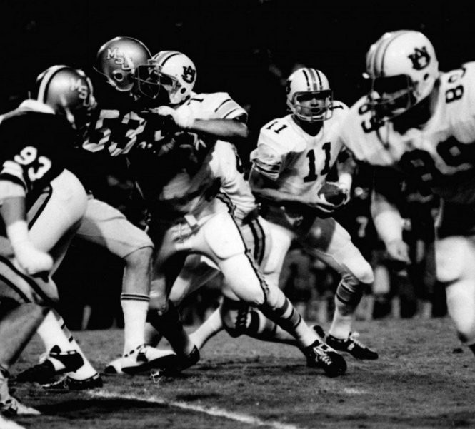 Auburn quarterback Phil Gargis (11) is shown during a game against Memphis State at Liberty Bowl Stadium in Memphis, Tennessee, on Oct. 9, 1976. (Birmingham News file photo)