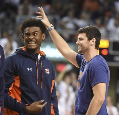 New Auburn quarterback Jarrett Stidham is introduced to the crowd Saturday, Jan. 21, 2017, during an NCAA basketball game against Alabama at Auburn Arena in Auburn, Ala. (Julie Bennett/jbennett@al.com) (Julie Bennett)