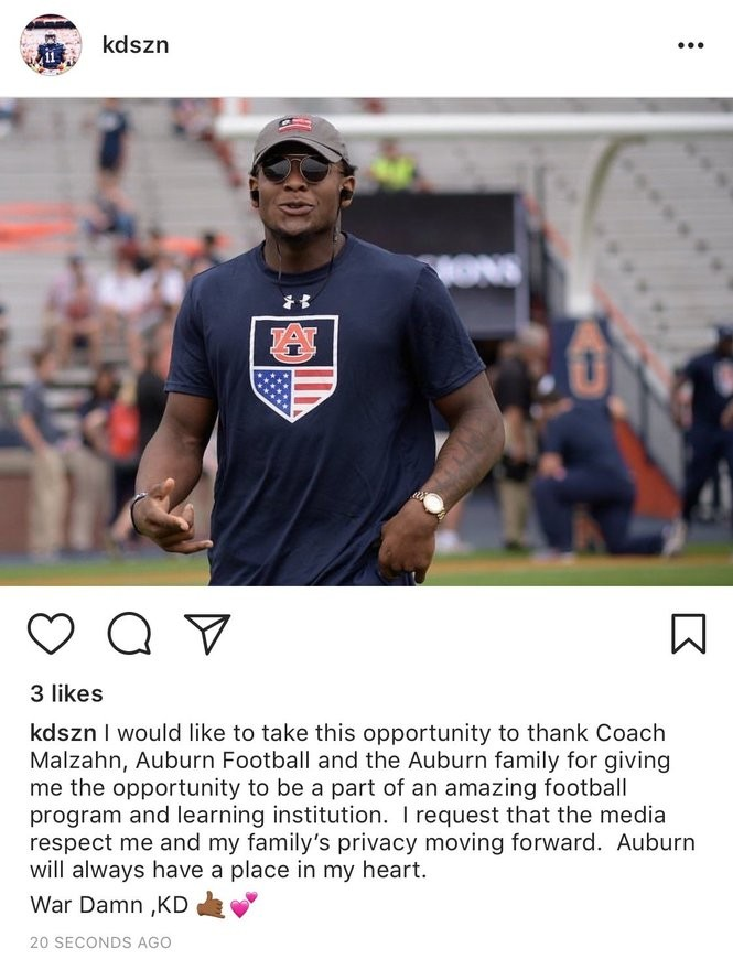 Former Auburn wide receiver Kyle Davis posted a message to Instagram  following his dismissal from the 26839730e274