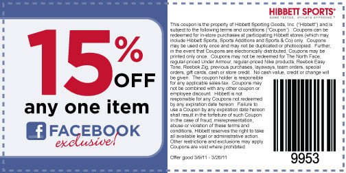 image regarding Hibbetts Sports Coupons Printable identified as Hibbett Putting on Items 15% off Any 1 Solution Printable Coupon