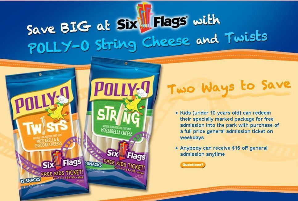 Six Flags Free Kids Admission With Polly O Cheese Purchase Al Com