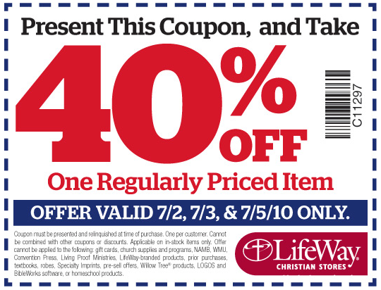 picture relating to Lifeway Coupon Printable named LifeWay Christian Outlets 40% off Monthly Priced Product or service Coupon