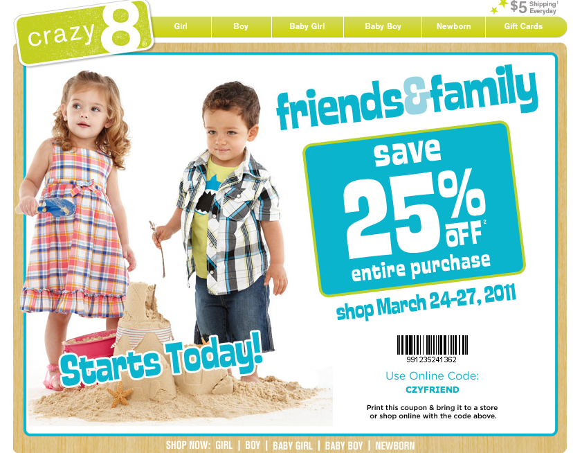 graphic relating to Crazy8 Printable Coupons identify Outrageous 8: 25% off Printable Coupon (Legitimate currently -Sunday)