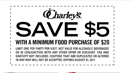 graphic about O'charley's 20 Off Printable Coupon referred to as OCharleys $5 off $20 Buy Printable Coupon -