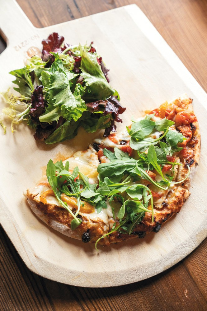 The half-pizza and small-salad lunch combo served at Bottega cafe's bar. Photo by Cary Norton.