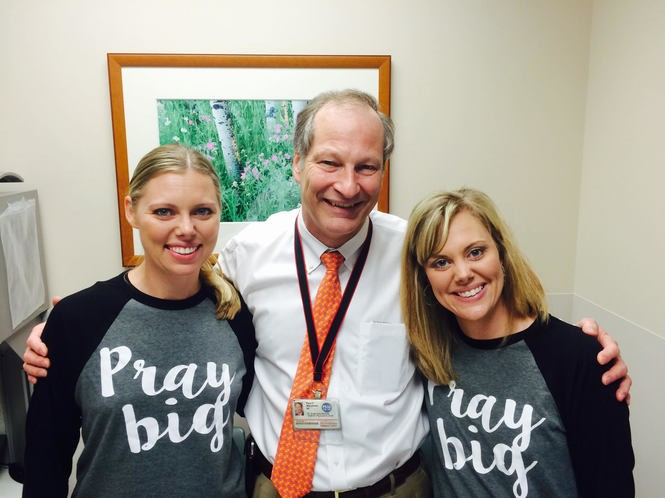 The sisters with Dr. Mansfield of MD Anderson.