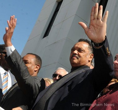 The Rev. Jesse Jackson (right) said he hopes University of Alabama students continue to stand against racism, as allegations of discrimination among UA sororities has come to light. (The Birmingham News file photo)