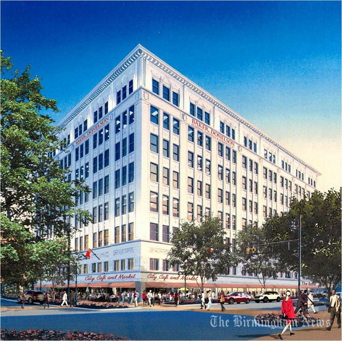 This rendering shows the renovated Pizitz building when it was a planned office project. Developers said the renovation will look similar when it is renovated into apartments starting spring 2014.