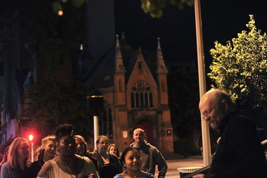 Edward Wolfgang Poe talks about the murder of Father Coyle as he leads a lantern-lit ghost walk tour through downtown Birmingham, Saturday, September 28, 2013. (Tamika Moore | tmoore@al.com)