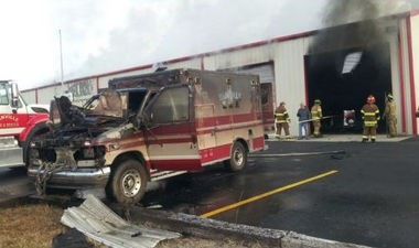 An ambulance was destroyed and a fire station heavily damaged by a blaze that began this morning, Dec. 13. 2013, at Danville Fire Station No. 2. Firefighters from at least six departments were on the scene. (Contributed by WHNT News 19)