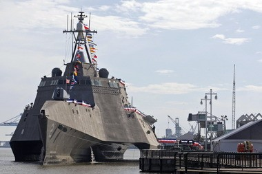 The Austal-built Littoral Combat Ship USS Independence Jan. 14, 2010 at Cooper Riverside Park in Mobile, Ala. (Press-Register file photo)