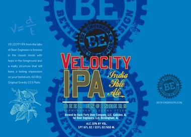 The label for bottles of Beer Engineers' Velocity IPA. (Special)