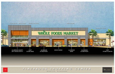 Before Whole Foods Market can claim its spot in Pinebrook Shopping Center, Mobile's Burton Property Group will need to shuffle other big-box retailers about, giving the 1960s-era shopping center a facelift in the process. (Courtesy of Burton Property Group)