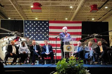 Mississippians rallied May 30 in Columbus, Miss., to urge Congress to restore funding in the Fiscal Year 2014 budget for the UH-72A Lakota program, which has delivered 267 aircraft to date, all on time and on budget. (Contributed photo)