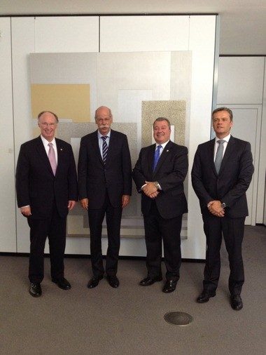 From left, Gov. Robert Bentley; Dieter Zetsche, chairman of the Board of Management for Daimler AG and head of Mercedes-Benz Cars; Greg Canfield, secretary of the Alabama Department of Commerce; and Markus Schaefer, outgoing head of the Mercedes plant in Tuscaloosa County are shown in Stuttgart, Germany, during an economic development mission last year. (File)