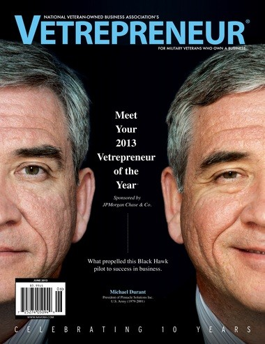 Mike Durant, co-founder of Pinnacle Solutions in Huntsville, shown on the cover of the June 2013 edition of Vetrepreneur Magazine by the National Veteran-Owned Business Association. (Contributed photo)