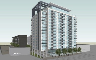 Harbert Realty's 15-story apartment tower as it will appear from Highland Avenue. (Special)