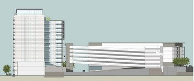 The apartment tower and parking deck from the west side. (Special)