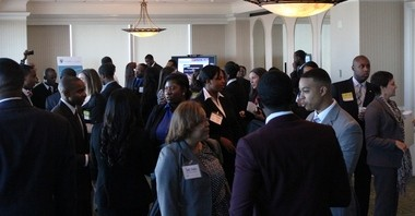 Students from Alabama A&M University and Alabama State University meet with representatives from Birmingham area banks at the Summit Club this morning. (Special).