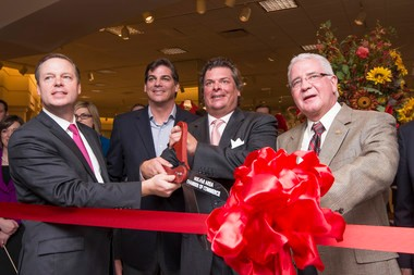 From left, Von Maur President Jim von Maur, Will Wilson and Jim Wilson of Jim Wilson & Associates and Hoover Mayor Gary Ivey at Saturday's grand opening of the Von Maur store at the Galleria. (Special/Nik Layman)