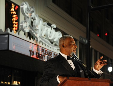 Birmingham Mayor William Bell turned on the lights at the Lyric Theatre's sign and marquee for the first time in years as a huge crowd gathered on 3rd Avenue North to watch the historic occasion In October. (Joe Songer/jsonger@al.com).