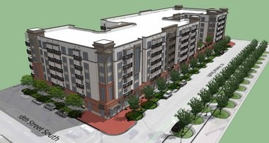 LIV Parkside will have 228 apartments and 3,000 square feet of retail space. (courtesy of Charlan Brock & Associates)