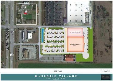 The 85,000-square-foot McKenzie Village in Foley is slated for completion in summer 2014, and will be anchored by national arts-and-crafts retailer Hobby Lobby. (Site plan rendering courtesy of Burton Property Group)