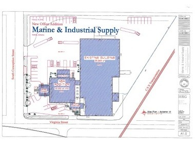 The proposed expansion includes construction/renovation of about 5,000 square feet in the company's existing commercial warehouse and manufacturing space plus the addition of 10,000 square feet of new, adjacent office space. (Courtesy Marine & Industrial Supply Co. Inc.)