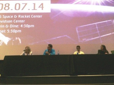 Young engineer panelists, from left, Sharon Cobb, Tim Pickens, Fred Hernandez and Keithe Baggett discuss the state of the space industry at the U.S. Space & Rocket Center Thursday, Aug. 7, 2014. (Lee Roop/lroop@al.com)