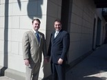 Managing partner Jay Laura, left, and partner Alexander Shunnarah, right, stand outside their Conti Street office in downtown Mobile, headquarters for the one-year-old Alexander Shunnarah Gulf Coast LLP. The newest practice for the longtime personal injury attorney serves clients across three states with offices in Mobile; Pensacola and Panama City, Fla.; and Biloxi, Miss. (Kelli Dugan/kdugan@al.com)