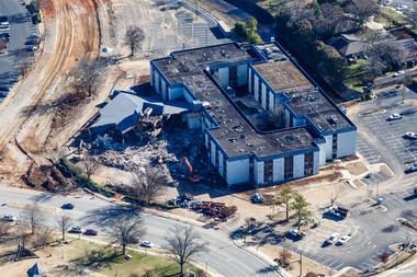 An aerial image of the Holiday Inn demolition Jan. 28, 2015 in downtown Huntsville. (Marty Sellers   sellersphoto.com)