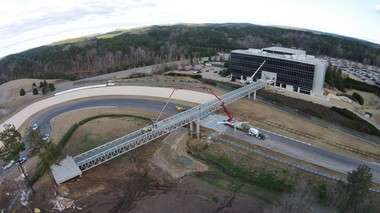 A pedestrian bridge is being installed at Barber Motorsports Park, connecting the Barber Vintage Motorsports Museum with the track infield at the Birmingham racing complex. (Special to AL.com/Barber Motorsports Park)