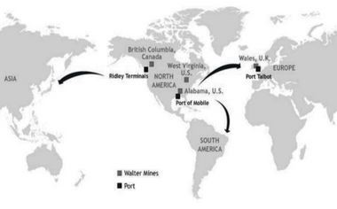 A map of Walter's operations and ports