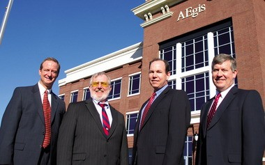 AEgis Technologies executives from left, Lance Cooper, executive vice president of Defense Services; Bill Waite, chairman and chief technical officer; Steve Hill, president and CEO; and Rodney Kreps, chief financial officer.