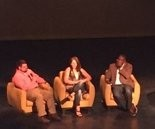 From left: Andy Harp, CEO of Frios; Kate Hayden, Director of Research at Blondin Bioscience and Shegun Otulana, CEO of Theranest at Sloss Tech on Friday, July 15, 2016 and the Lyric Theatre.