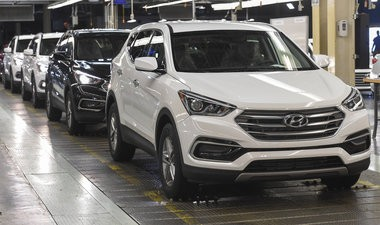 Hyundai America builds cars on assembly lines like these at its plant in Montgomery, Ala. (File)