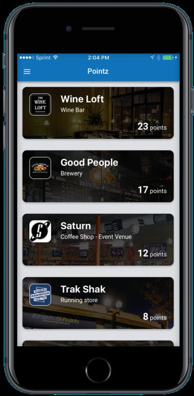 A screenshot of the Pointz app.