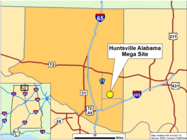 The Huntsville Mega Site lies in Limestone County with 1,252 acres not far from Interstate 565 and 65.