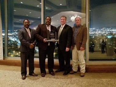 Stanley Construction Company was awarded the Associated General Contractors of Alabama 2017 BuildSouth Award. The award for Heavy Industrial Construction under $5 million for their work on the design and construction of the Bragg Farms Irrigation Reservoir, located just across the stateline in Taft, Tennessee. Shown from left are Executive Vice President Thornton Stanley Jr., Vice President of Project Management Al Stanley, site owner Dennis Bragg, and Wade Hayes.