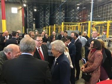 Gov. Kay Ivey greets people at the opening of the new Truck & Wheel plant in Vance, Ala. Friday, March 9, 2018.
