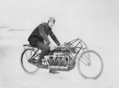 "Glenn Curtiss rode this bike on Jan. 23, 1906 when he became the ""Fastest Man on Earth,"" reaching the speed of 136.3 miles per hour on Ormond Beach in Florida."